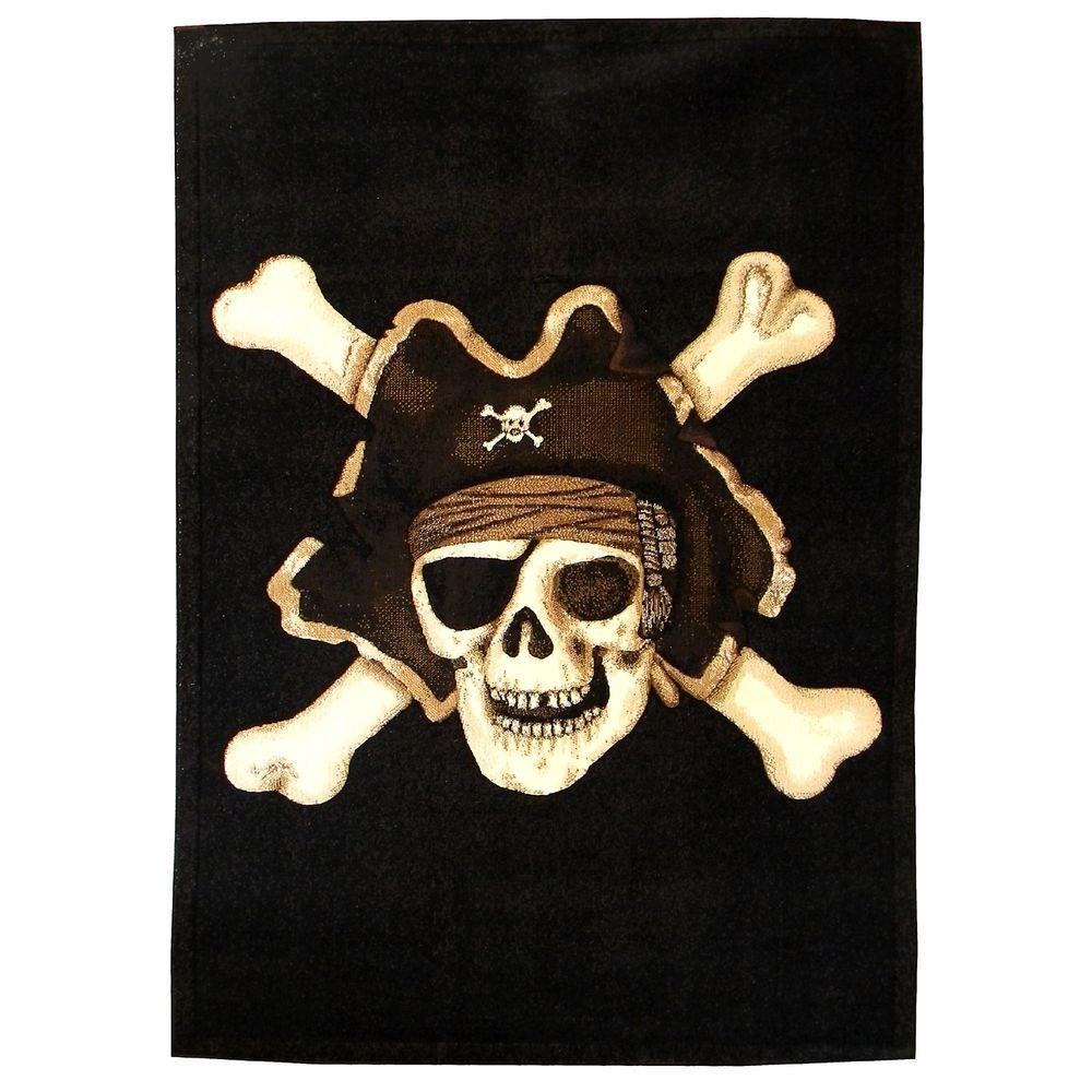 DonnieAnn Skinz Skull Pirate Design Black 5 Ft. X 7 Ft