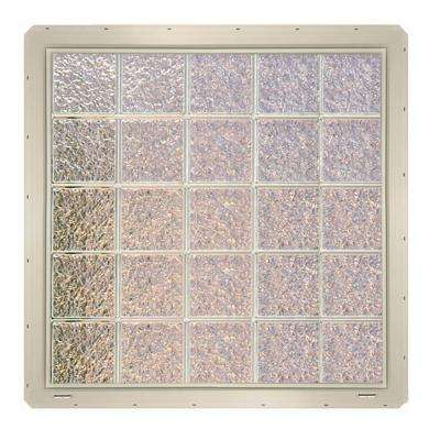 39.25 in. x 39.25 in. x 3.25 in. Ice Pattern Vinyl Glass Block Window with Almond Colored Nailing Fin