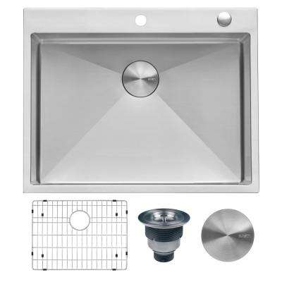 28 in. Drop-In Tight Radius Topmount 16-Gauge Stainless Steel Kitchen Sink Single Bowl