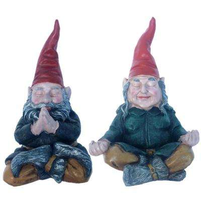 11 in. ZEN Mordecai and ZEN Zelda the Meditating Yoga Gnomes Statues (2 Pieces Per Set)