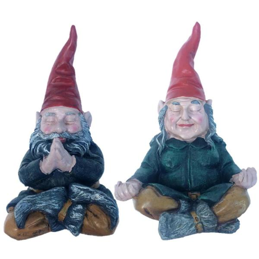 11 in. ZEN Mordecai and ZEN Zelda the Meditating Yoga Gnomes Statues (2 Pieces Per Set)