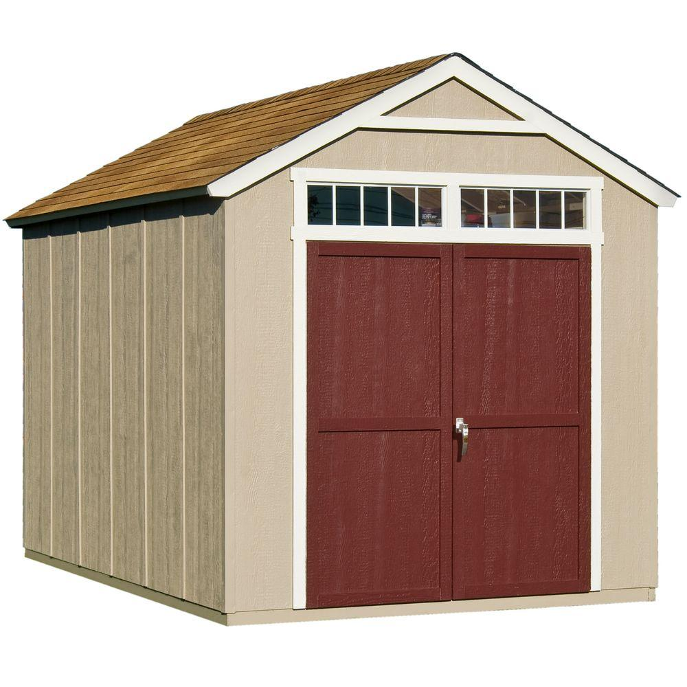 Handy home products majestic 8 ft x 12 ft wood storage for Outdoor wood shed