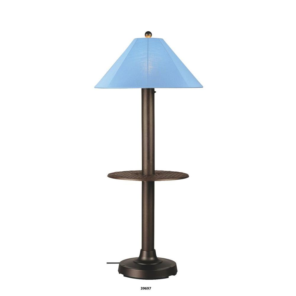 Patio Living Concepts Catalina Bronze Outdoor Floor Lamp with attached Tray Table and Ebony Shade Large-DISCONTINUED