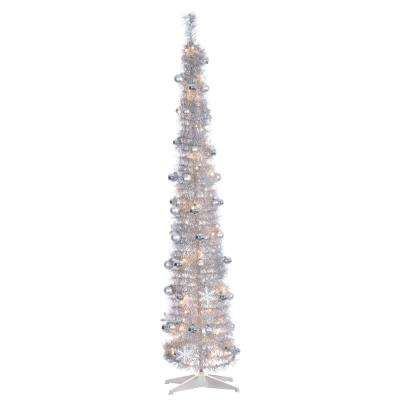 6 ft. H Sliver PopUp Decorated Tinsel Tree