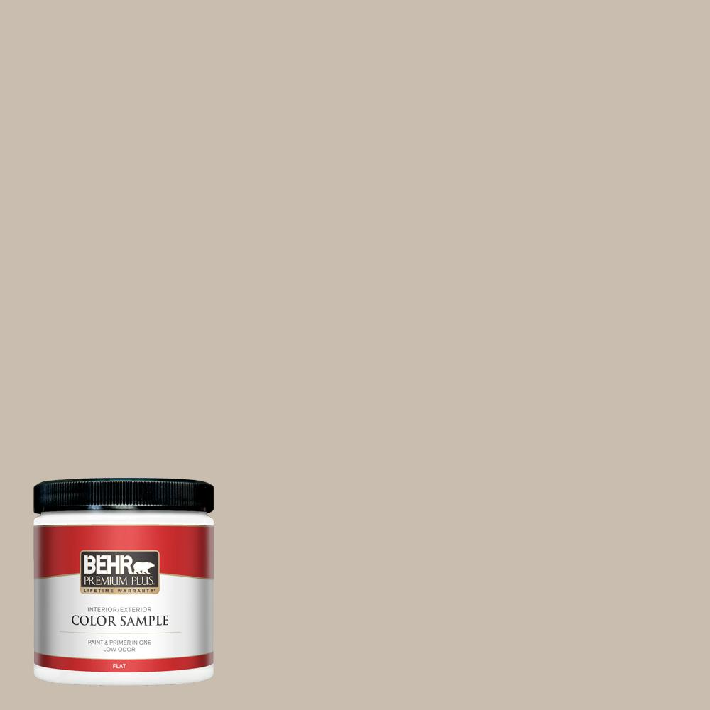 BEHR PREMIUM PLUS 8 oz. #PPU5-13 Creamy Mushroom Flat Interior/Exterior Paint and Primer in One Sample