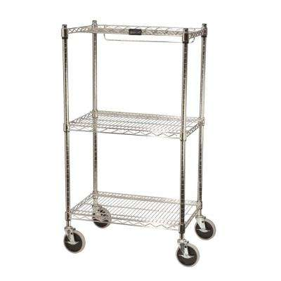 ProSave 47 3/4 in. H x 26 in. W x 18 in. D 3-Shelf Wheeled Mobile Rack for Shelf Ingredient Bins