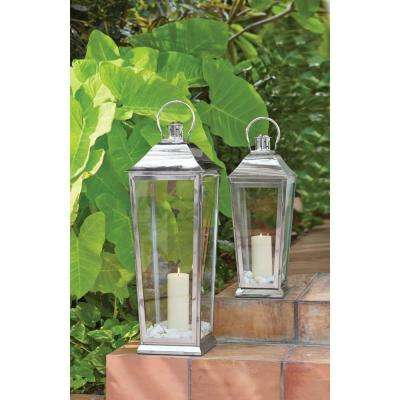 Ravello 22 in. Candle Tapered Lantern in Polish Silver