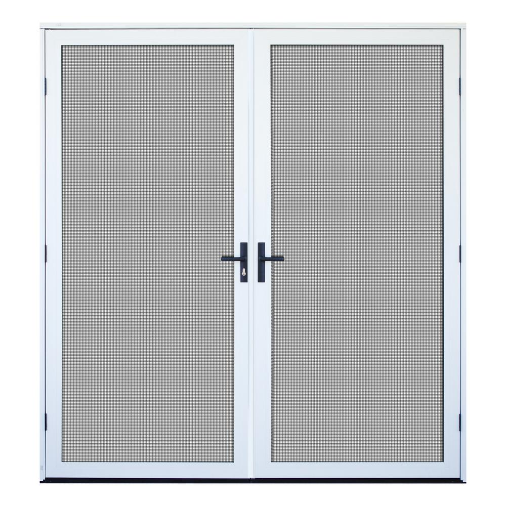 Unique Home Designs 72 in. x 80 in. White Recessed Mount Outswing Double Security Door with Meshtec Screen