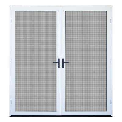 64 in. x 80 in. White Recessed Mount Outswing Double Security Door with Meshtec Screen