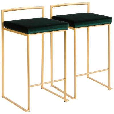 Gold Stackable Counter Stool With Green Velvet Cushion (Set Of 2