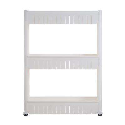 3-Tier White Slim Slide Out Storage Tower with Wheels