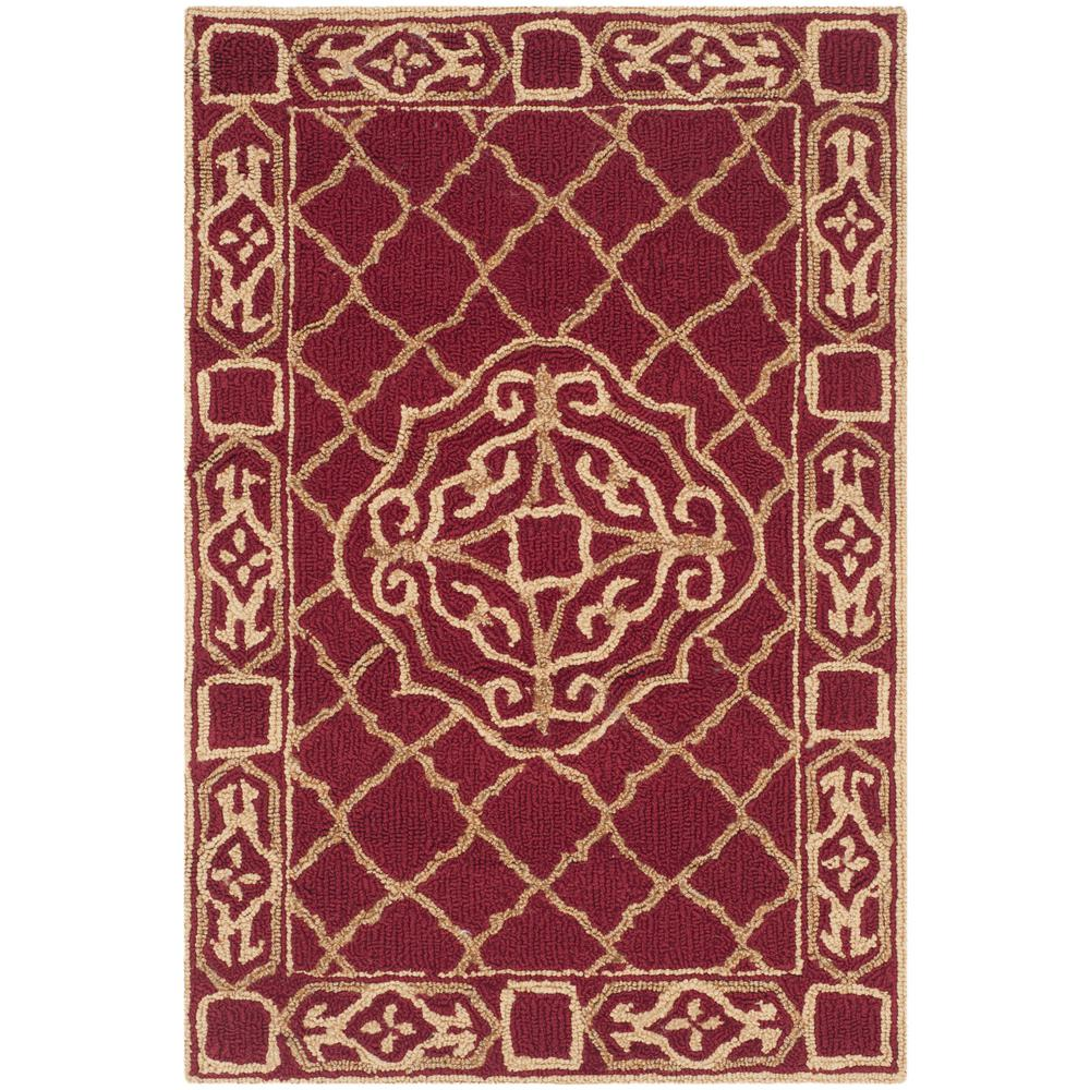Safavieh easy care maroon gold 2 ft x 3 ft area rug for Easy rugs