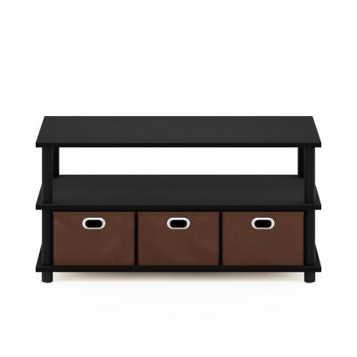 Frans 32 in. Black/Oak Medium Rectangle Particle Board Coffee Table with Drawer Bins
