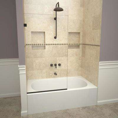 2300V Series 30 in. W x 60 in. H Semi-Frameless Fixed Tub Door in Oil Rubbed Bronze and Clear Glass