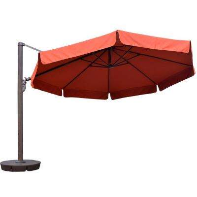 Victoria 13 ft. Octagonal Cantilever with Valance Patio Umbrella in Terra Cotta Sunbrella Acrylic