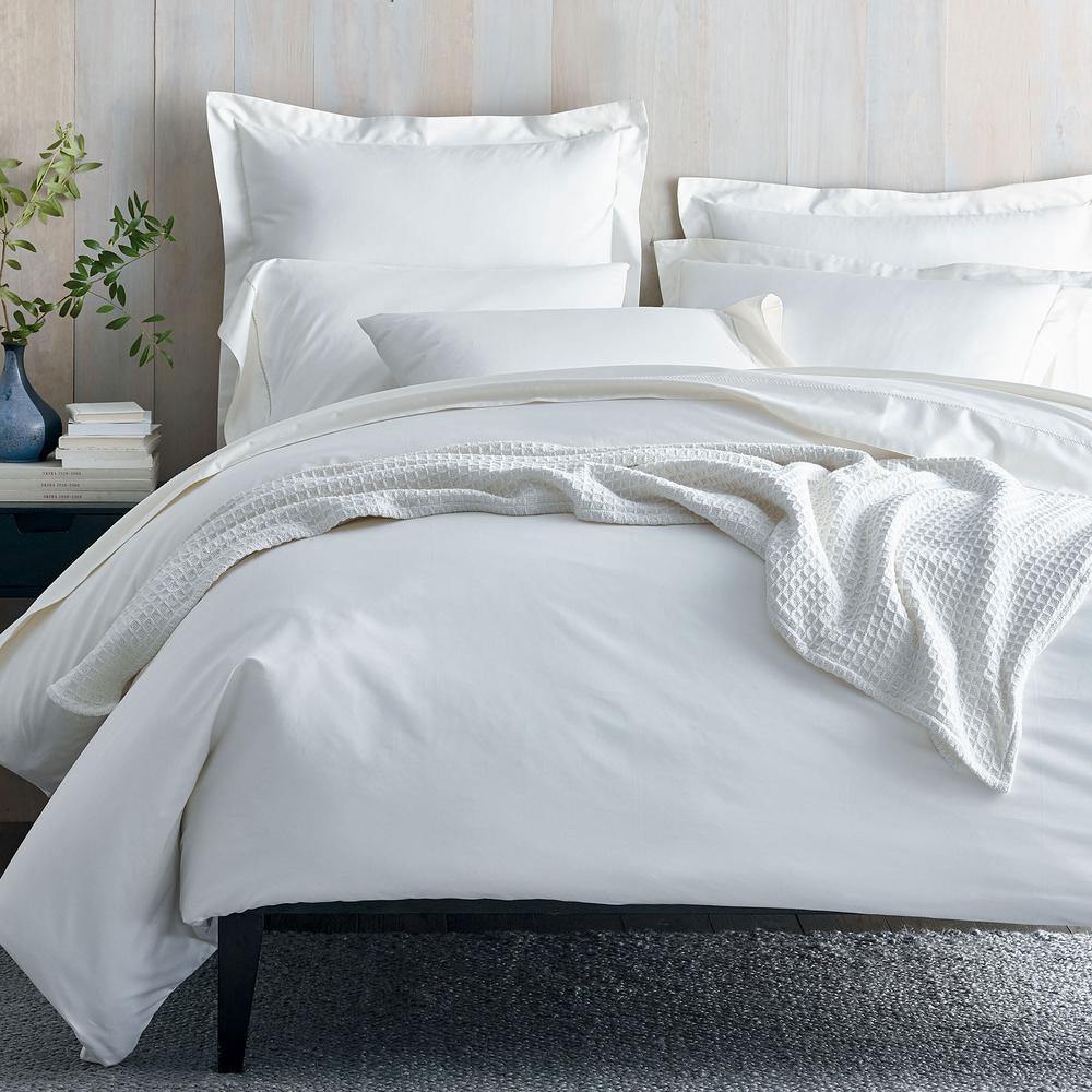 The Company Organic 300 Thread Count Cotton Sa White Twin Duvet Cover