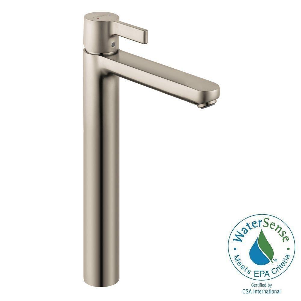 Metris S Single Hole 1-Handle Mid Arc Bathroom Faucet in Brushed Nickel