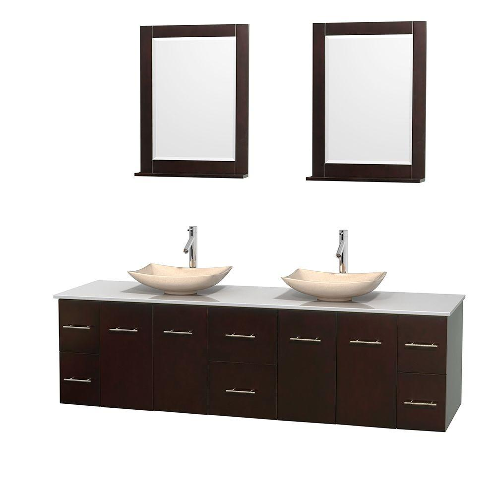 Centra 80 in. Double Vanity in Espresso with Solid-Surface Vanity Top