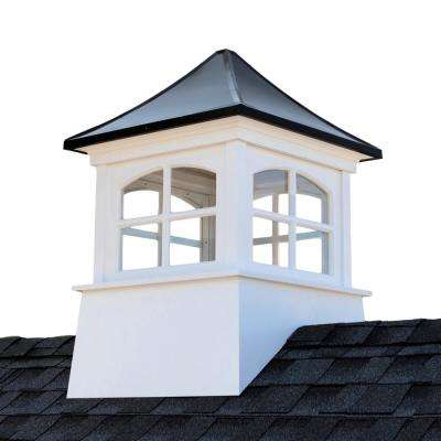 30 in. x 30 in. x 45 in. H Square Vinyl Cupola with Black Aluminum Roof