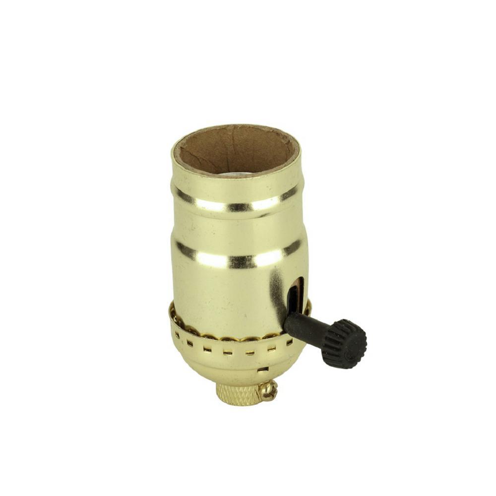 aspen creative corporation polished brass 3 way lamp socket withpolished brass 3 way lamp socket with turn knob switch (1 pack)