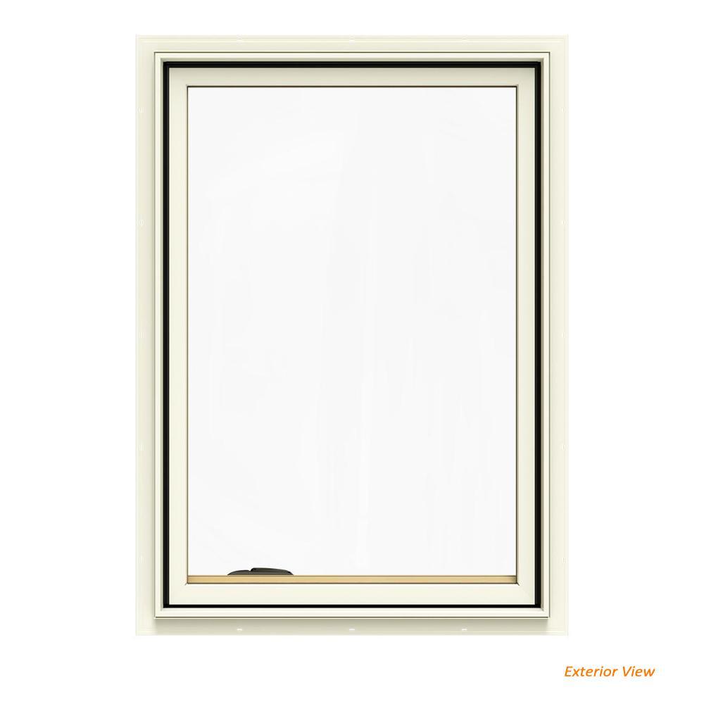 24.75 in. x 40.75 in. W-2500 Series Cream Painted Clad Wood Left-Handed Casement Window with BetterVue Mesh Screen