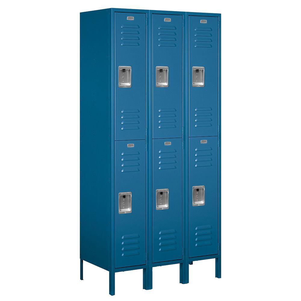 Salsbury Industries 62000 Series 36 in. W x 78 in. H x 18 in. D 2-Tier Metal Locker Unassembled in Blue