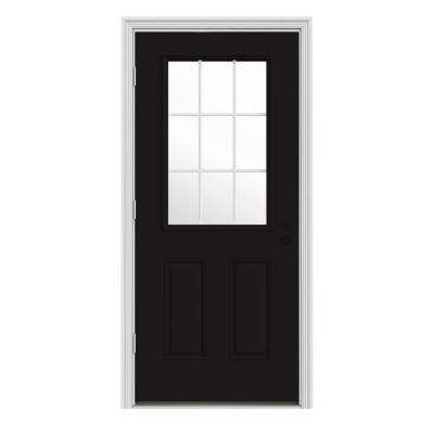 36 in. x 80 in. 9 Lite Black Painted w/ White Interior Steel Prehung Right-Hand Outswing Front Door w/Brickmould