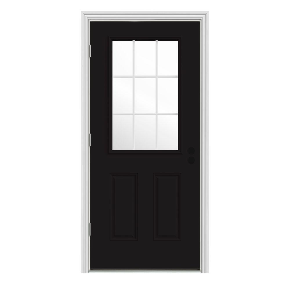 JELD-WEN 30 in. x 80 in. 9 Lite Black Painted Steel Prehung Right ...
