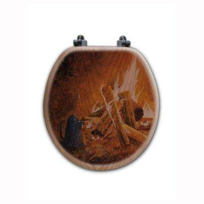 Evening Campfire Round Closed Front Wood Toilet Seat in Oak Brown