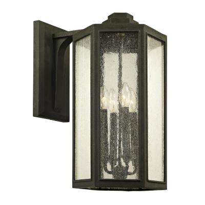Hancock 4-Light Vintage Bronze 20 in. H Outdoor Wall Mount Sconce with Clear Seeded Glass