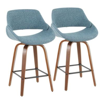 Fabrico 26 in. Walnut and Blue Fabric Counter Stool with Square Black Footrest (Set of 2)
