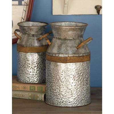 8 in. x 12 in. Farmhouse Galvanized Iron Milk Can
