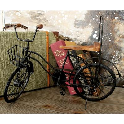 Black Iron and Brown Wood Vintage Stingray Bicycle Model with Basket