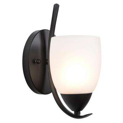 Mirror Lake 1-Light Oil-Rubbed Bronze Sconce with White Etched Glass Shade