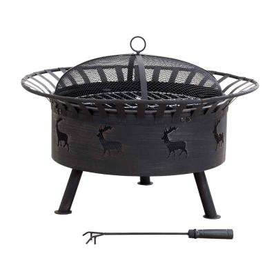 32 in. x 23.62 in. Round Steel Wood-Burning Fire Pit in Elk Design in Black with Brush