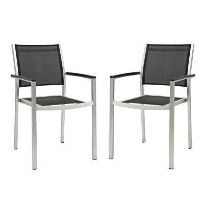 Shore Patio Aluminum Outdoor Dining Chair in Silver Black (Set of 2)