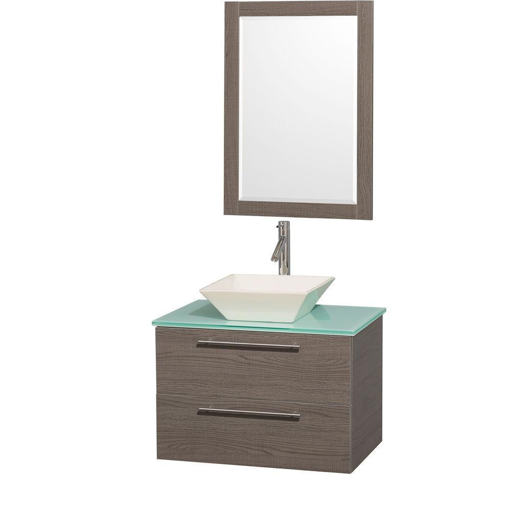 Amare 30 in. Vanity in Grey Oak with Glass Vanity Top