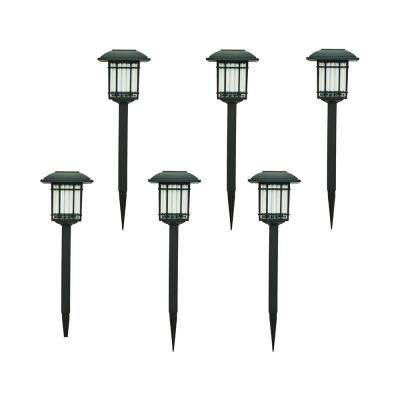 Solar Black Outdoor Integrated LED 3000K 6-Lumens Landscape Pathway Light (6-Pack)