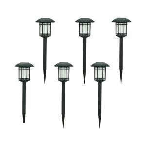 6-Pack Hampton Bay Solar Black Outdoor Integrated LED 3000K 6-Lumens Landscape Pathway Light