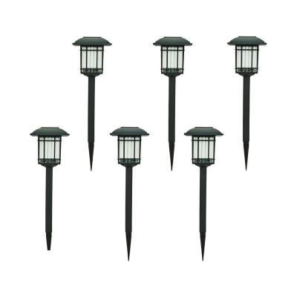 Solar Black Outdoor Integrated LED 3000K 6-Lumens Landscape Pathway Light (6-Pack)