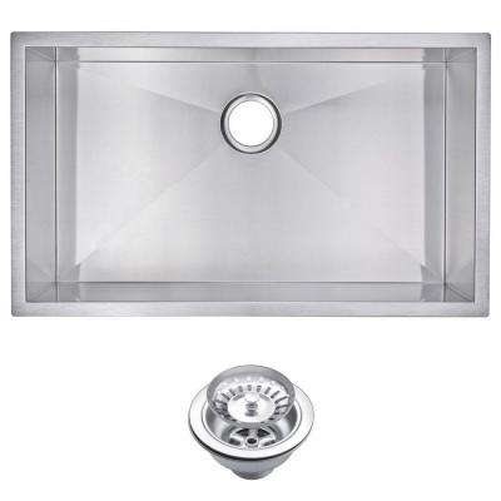 Undermount Zero Radius Stainless Steel 32.in 0-Hole Single Bowl Kitchen Sink with Strainer in Satin Finish