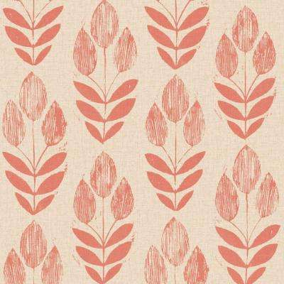 Scandinavian Red Block Print Tulip Wallpaper
