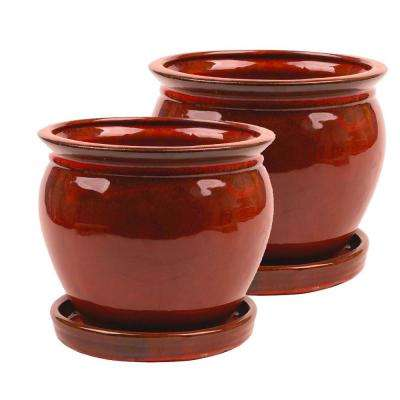 Wisteria 8 in  Dia Oxblood Ceramic Pot (2-Pack)