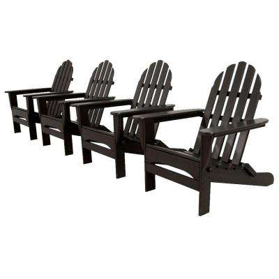 Classics Black 4-Piece Folding Adirondack Patio Conversation Set
