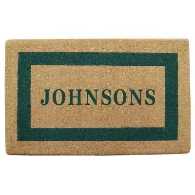 Single Picture Frame Green 30 in. x 48 in. Heavy Duty Coir Personalized Door Mat
