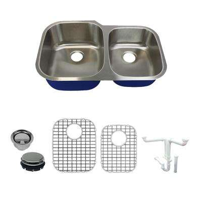 Meridian All in.-One Undermount Stainless Steel 31.8 in. 60/40 Double Bowl Kitchen Sink in Brushed Stainless Steel