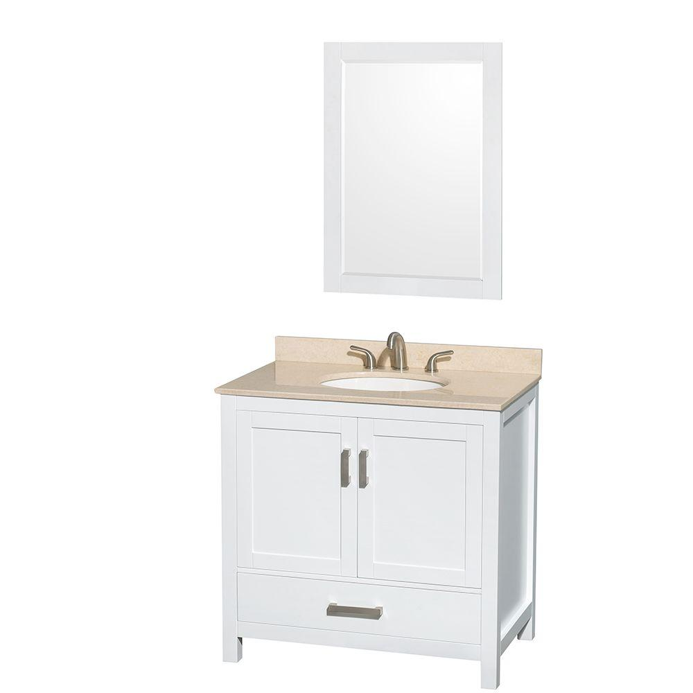 Wyndham Collection Sheffield 36 in. Vanity in White with Marble Vanity Top in Ivory and 24 in. Mirror