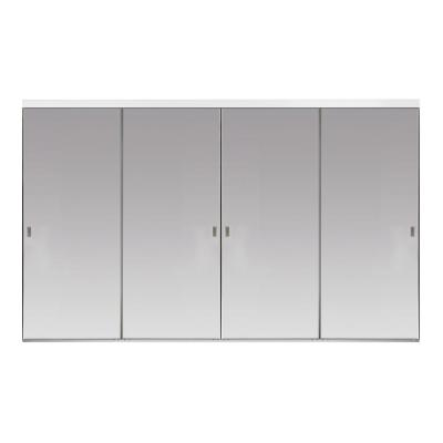 Impact Plus 48 In X 96 In Polished Edge Backed Mirror Aluminum Frame Interior Closet Sliding Door With White Trim Sp2 4896w The Home Depot