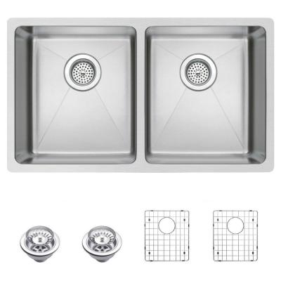 Undermount Small Radius Stainless Steel 31 in. 0-Hole Double Bowl Kitchen Sink with Strainer and Grid in Satin Finish