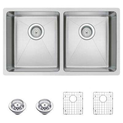 Undermount Small Radius Stainless Steel 31 in. 0-Hole Double Basin Kitchen Sink with Strainer and Grid in Satin Finish